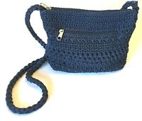 Lina Crochet Navy Crossbody Bag Tote Purse Braided Strap Fully Lined Top Zipper