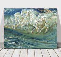"WALTER CRANE - Neptune's Horses - CANVAS ART PRINT POSTER - Sea Beach 36x24"""