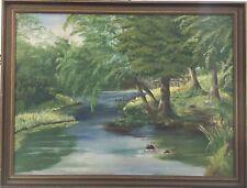Waldlandschaft mit Bachlauf im Sommer Natur Bilderrahmen Antik 80,5 x 105 cm