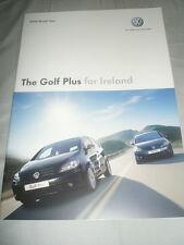 VW Golf Plus para Irlanda FOLLETO 2008 año De Modelo