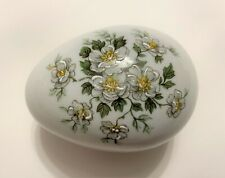 *VINTAGE*   FM Limoges - white floral egg-shaped trinket dish w/ lid