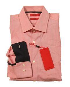 Hugo Hugo Boss Red Label Men's Red C-Michael Fine Stripe Sharp Fit Dress Shirt