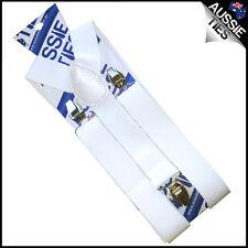 Mens 3.5cm Width White Braces Suspenders Elastic Durable Wide