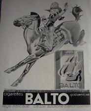 PUBLICITE de presse cigarettes BALTO 1933 rodeo dessin René VINCENT AD