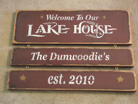 Personalized custom Lake House sign  wood sign primitive