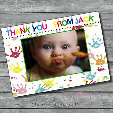Pk 10 Personalised Photo Boy  Or Girl Handprint ThankYou Cards & envelopes