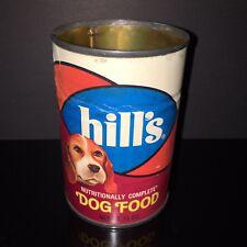 HTF VINTAGE! Hills 1970s Dog Food Tin Can BEAGLE Paper Label Pet Store