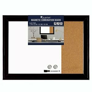 """Combination Magnetic Whiteboard & Corkboard, 17"""" x 23"""", Combo White 1-Count"""