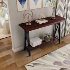 Modern Bedroom Console Table W/Metal frame Compact Wood Table Home Furniture