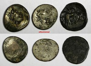CAMBODIA  ND 1847 LOT OF 3 2 Pe, 1/2 Fuang and 1 Fuang KM#32.1 and KM#11 (4953)