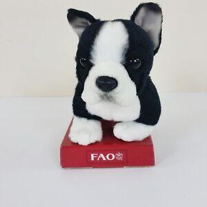 "Fao Shwarz Mini Bulldog Puppy Dog Plush Black & White 6"" Stuffed Toy Toys R Us"