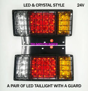 A PAIR LED & CRYSTAL STYLE TAIL LIGHT ROCK GUARD ISUZU ELF NPR NHR NLR TRUCK 24V