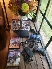 Sony Playstation 2 PS2 Slim Black Console Complete Bundle 4 games Tested Works!