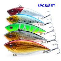 6PCS Fishing Lures VIB Lure Treble Hook Swimbait Crankbait Plastic Hard Bait