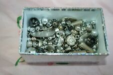 Small Box Vintage/Antique Loose Silver Metal/Plastic Beads Faceted Mix Craft