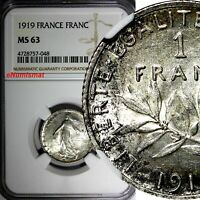 France Silver 1919 1 Franc NGC MS63 LIGHT TONING KM# 844.1