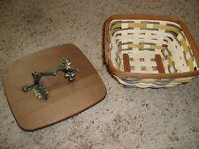 LONGABERGER GOLDEN FIELDS Small Flare Basket w/ (Broken but Usable) Lid $0 S/H!