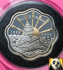 1999 2000 BERMUDA $2 Two Dollars Millennium Silver & Gold Proof Coin + COA