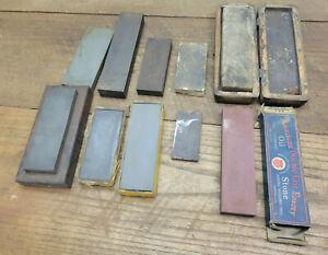 L1283- 10 Antique Vintage Sharpening Stones - Razors Tools Etc