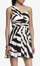 NEW EXPRESS Woman's One Shoulder Flowy Dress Black White sz 8
