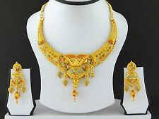 UK Indian Bollywood Jewelry Fashion Gold Plated Wedding Necklace Earring Set A10