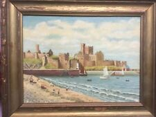 Fantastic vintage English painting of  beach with castles in background by Woods