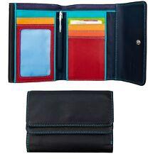 Mywalit Woman's Soft Leather Double flap Purse Wallet Black-Pace Multi colour