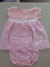 Youngland Pink Flower Dress W/Diaper Cover Size 12 Months