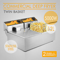 2x6L Stainless Steel Commercial Twin Double Tank Electric Deep Fat Fryer Basket