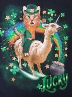 Men's Celebrate St Patrick's DAY Black T-Shirt Lucky Sz XL Cotton Short Sleeve