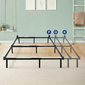 7 In Compact Steel Box Spring and Mattress Set Bed Frame, Full/Queen/King, Black