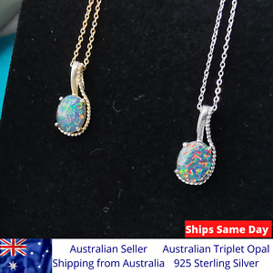 Rainbow Genuine Triplet Opal Necklace Pendant w Chain 18k Gold Plated 925 SS