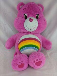 "Care Bears Cheer Pink Plush 18"" Rainbow Just Play 2014 Stuffed Animal Toy"