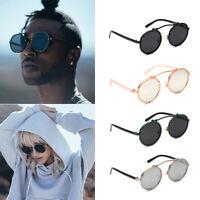 Men Sunglasses Retro Gothic Steampunk Coating Mirrored Round Circle  Sunglasses 4704aac7d6