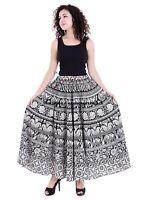 Éléphant Mandala Jupe Coton Femmes Mode Long Taille Fille Patineuse Enroulé