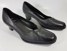 Clarks cushion soft black leather mid heel shoes uk 4 eu 37