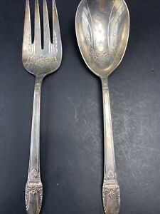 RARE VINTAGE 1847 ROGERS BROS SILVERPLATE FIRST LOVE? SERVING SPOON FORK