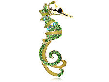 Curvaceous Green Peridot Green Crystal Rhinestone Seahorse Fashion Pin Brooch