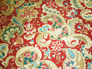Antique French Stylized Floral Cotton Cretonne Fabric ~ Red Prussian Blue Camel