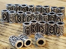 Viking Futhark Rune Beads Hair Beard Complete 24 Silver Celtic Gift Bag Set