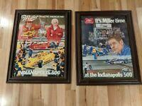 Lot of 2 Miller High Life Beer Signs 1981 Indy 500 Bobby Unser Ron Burton