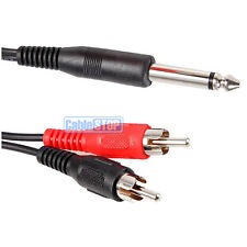 """SHORT 15cm 6.35mm MONO 1/4"""" Jack to 2 RCA PHONO Male Plugs Cable Audio Lead"""