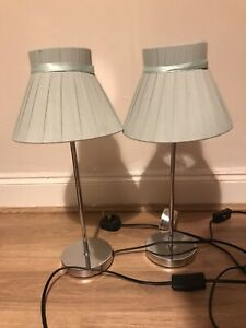 Pair of Bedside Lounge Table Lamps Brushed Chrome Base