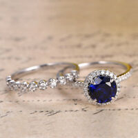 2.90 Ct Round Cut Real Diamond Blue Sapphire Wedding Band 14K White Gold Rings