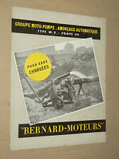 Prospectus Moteur BERNARD Motopome Motor Tracteur traktor brochure catalogue