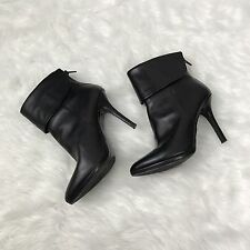 RALPH LAUREN Womens Leola Black Leather High Heel Fold Over Ankle Boots Sz 7 B