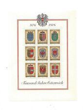 Austria, Scott # 1042a-1042i Souvenir Sheet, 1976 Coats Of Arms Issue Mnh
