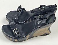 Two Lips Ankle Strap Wedge Heels Womens Size 7 Black Leather Open Toe Shoe
