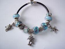 Beach LAMPWORK Murano European BLUE Glass Bead STAR Turtle CHARM Bracelet N-17
