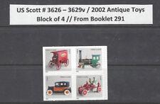 US Scott # 3626 - 29 / 3629b or v Antique Toys, SA Block of 4 from BK 291